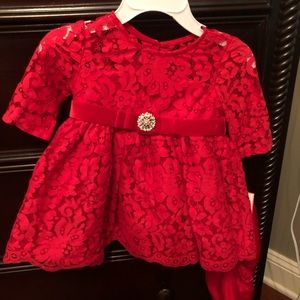 Baby girl red lace formal dress NEW